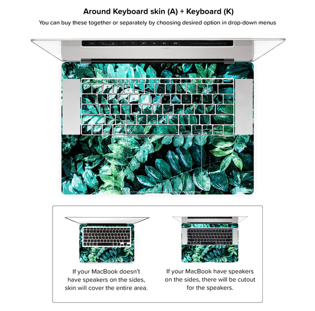Mineral Leaves MacBook Skin - around keyboard skin