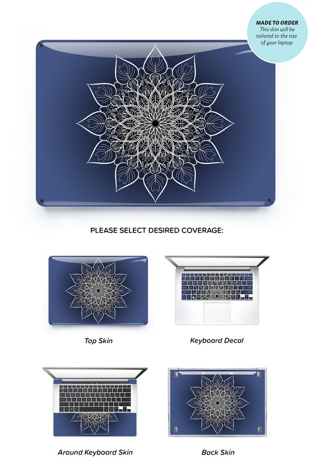 Navy Flower Mandala Laptop Skin