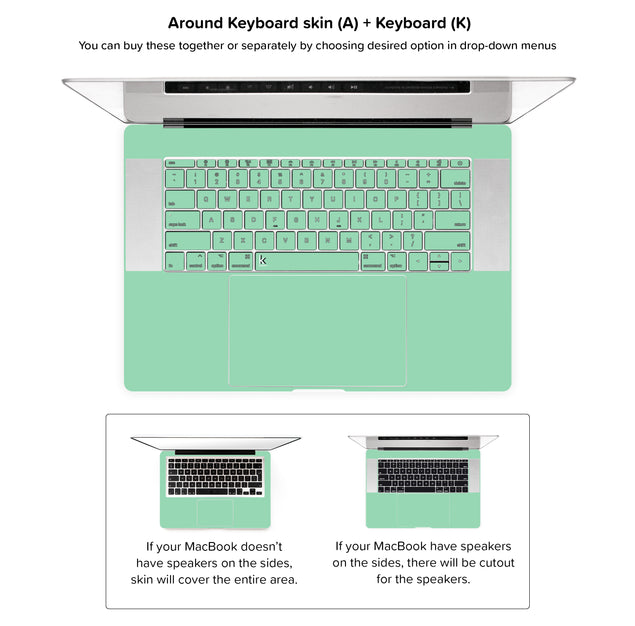 Neo Mint MacBook Skin - around keyboard skin