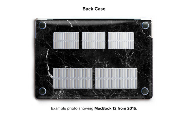New Black Marble Hard Case for MacBook 12 - back/bottom case
