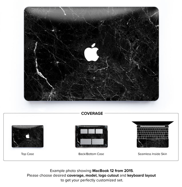 New Black Marble Hard Case for MacBook 12
