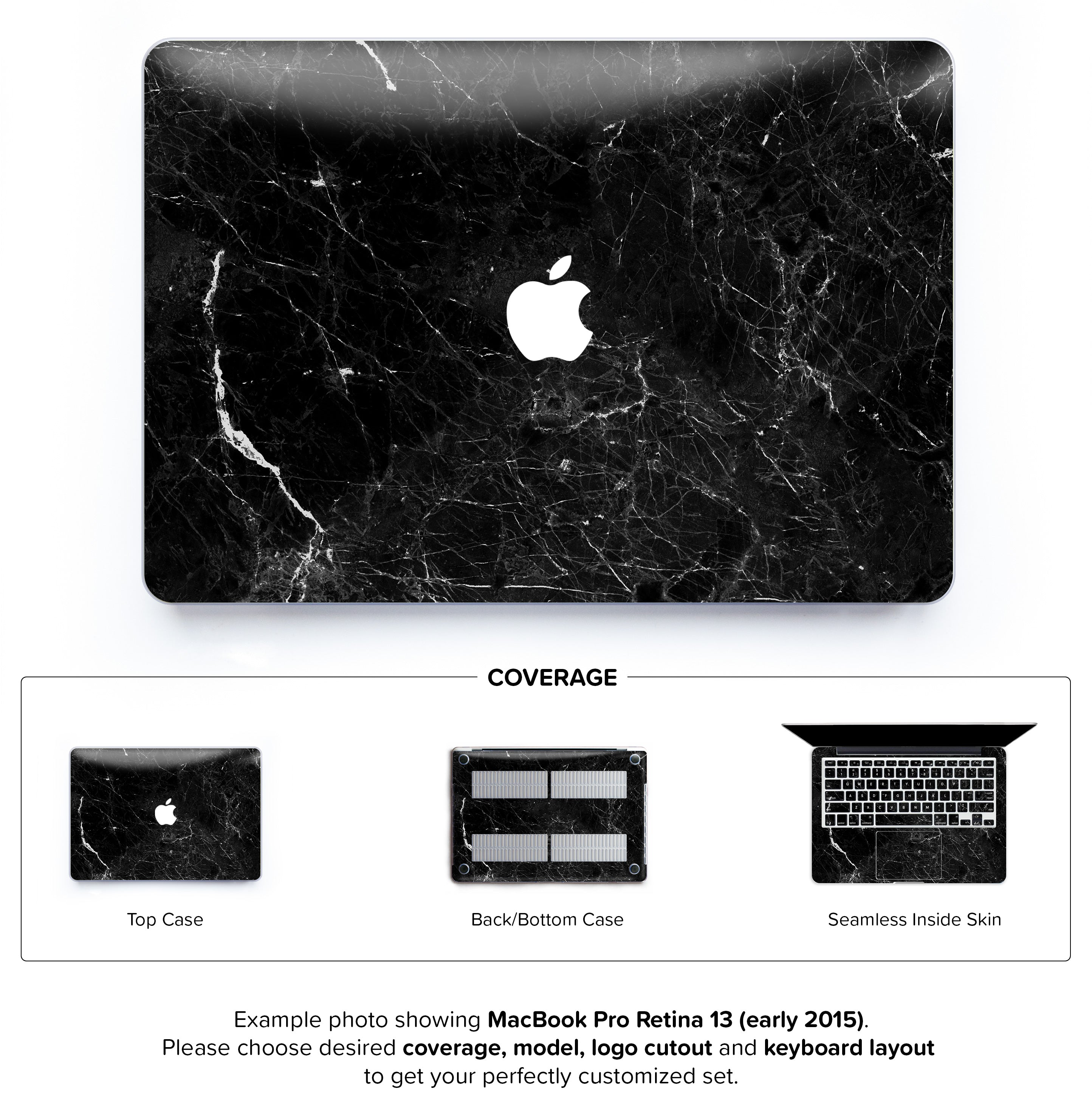 new product 1a74c 6f57f New Black Marble Hard Case for MacBook Pro Retina 13