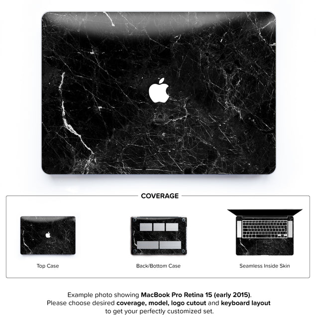 New Black Marble Hard Case for MacBook Pro Retina 15