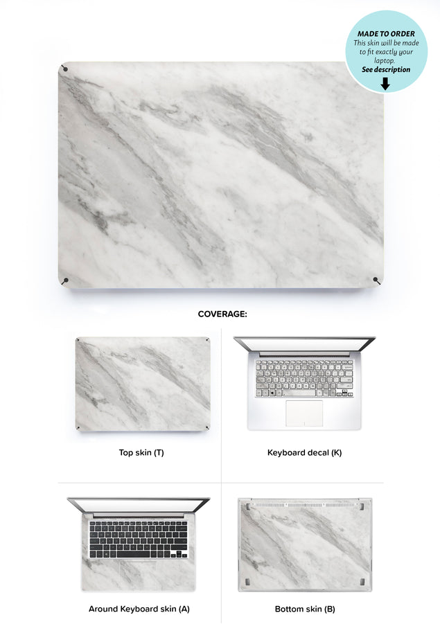 New White Marble Laptop Skin