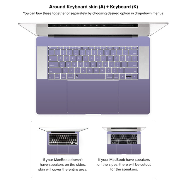 Orchid Gray MacBook Skin - around keyboard skin