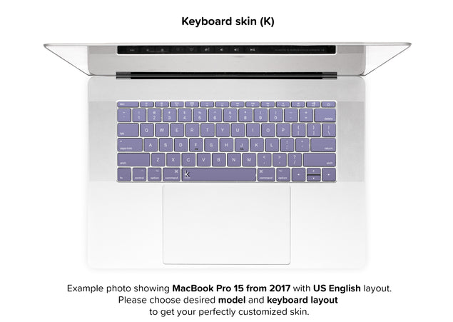 Orchid Gray MacBook Skin - keyboard stickers