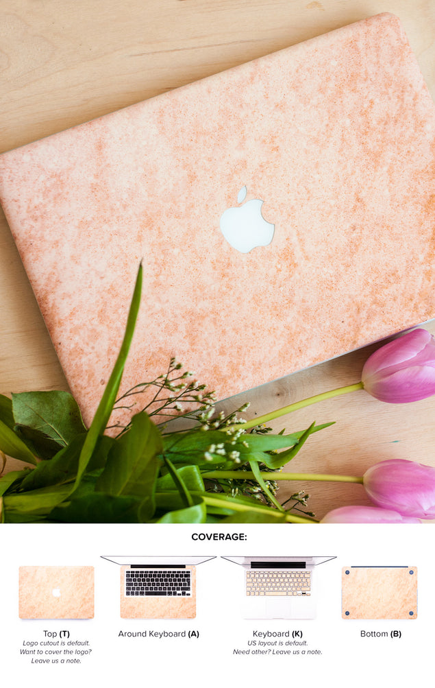 Rose Gold Peach Marble MacBook Skin