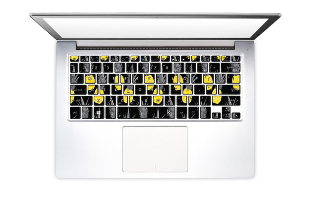 Pineapple Black Laptop Keyboard Stickers