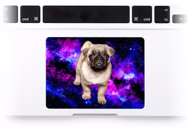 Pug in Space MacBook Trackpad Sticker at Keyshorts.com - 1