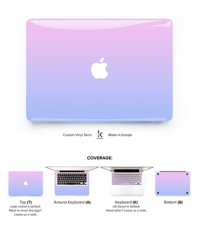 Purple Pink Ombre MacBook Skin at Keyshorts.com - 1