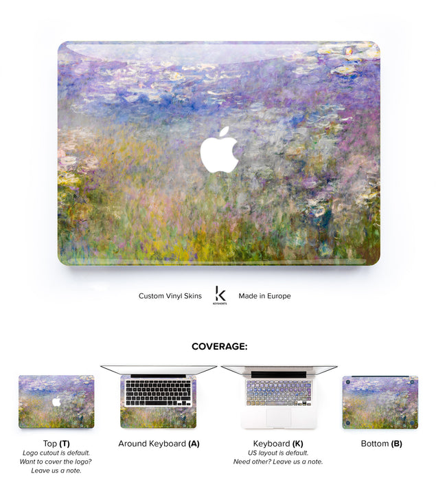 Purple Water Lilies MacBook Skin at Keyshorts.com