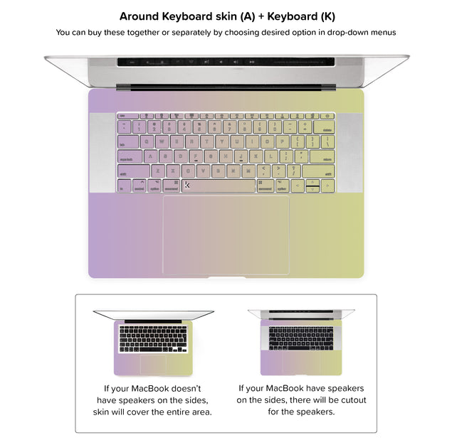 Purpurella Ombre MacBook Skin - around keyboard skin
