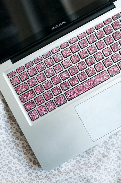 laptop keyboard decal glittering pink rose keyshorts