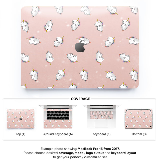 Rose Gold Unicorns MacBook Skin