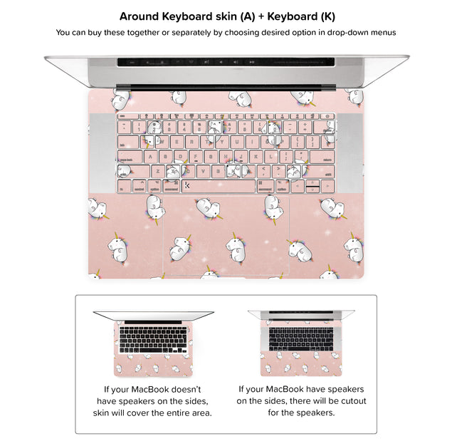 Rose Gold Unicorns MacBook Skin - around keyboard skin