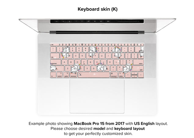 Rose Gold Unicorns MacBook Skin - keyboard stickers