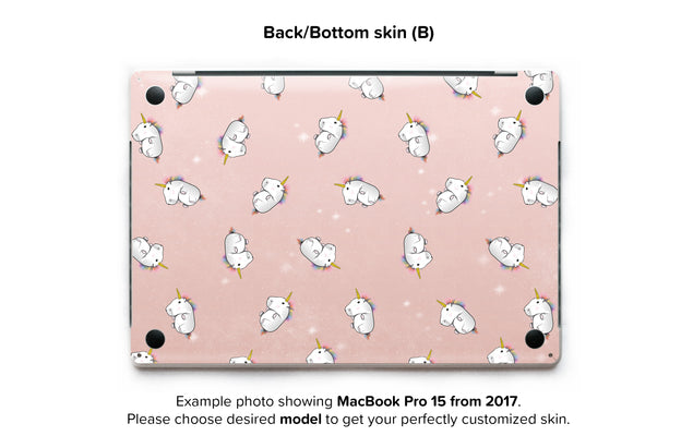 Rose Gold Unicorns MacBook Skin - back skin