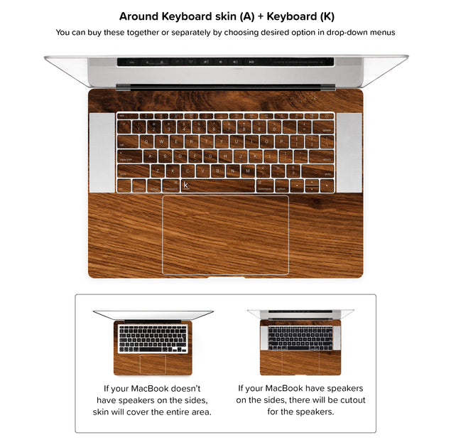 Rustic Wood MacBook Skin - around keyboard skin