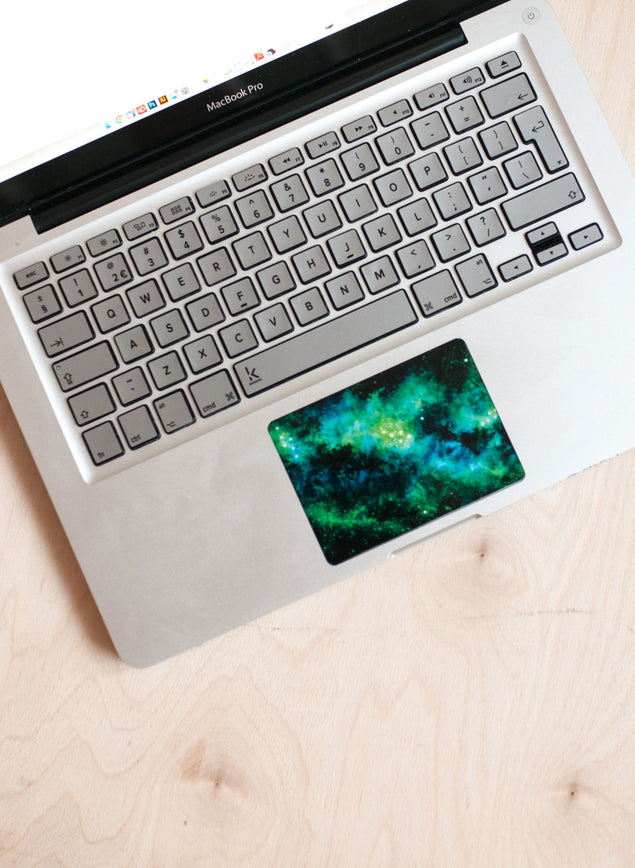 Silver MacBook Keyboard Stickers with trackpad skin