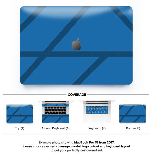 Simple blue lines MacBook Skin