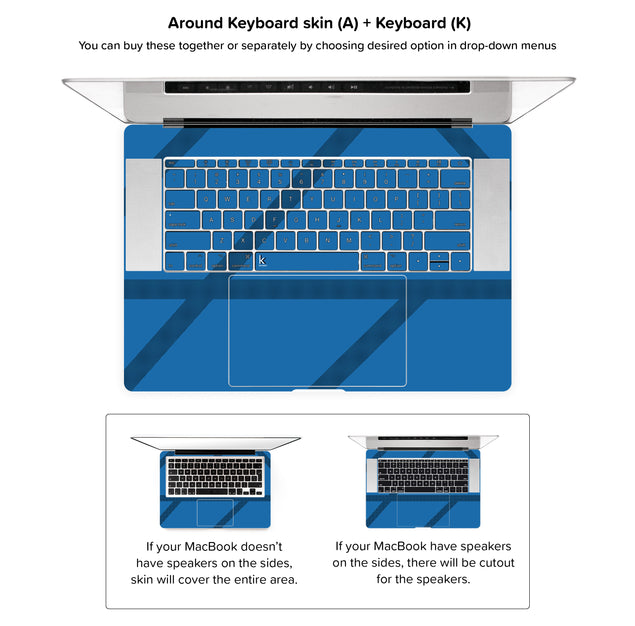 Simple blue lines MacBook Skin - around keyboard skin