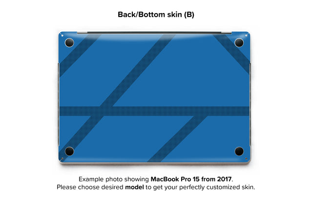 Simple blue lines MacBook Skin - back skin