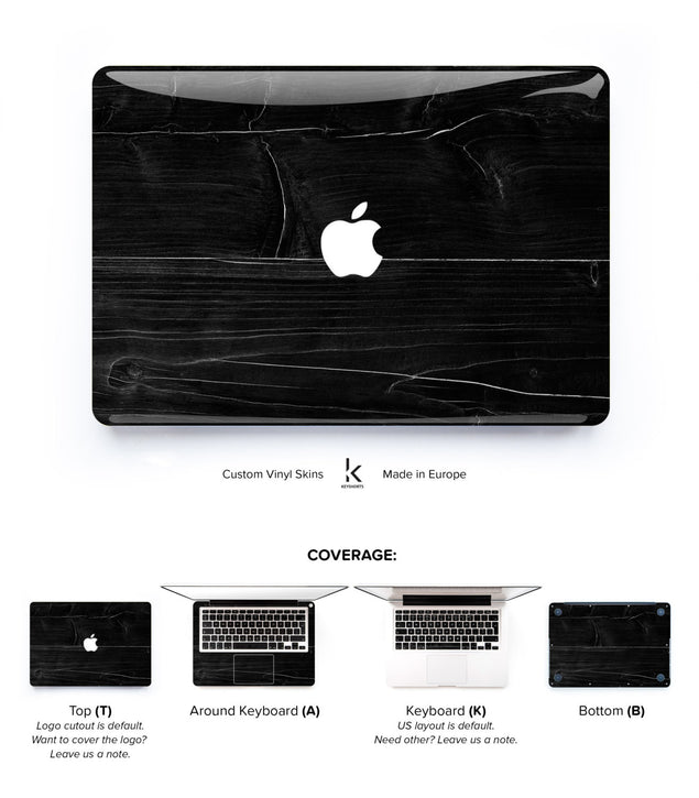 Black Wood MacBook Skin at Keyshorts.com