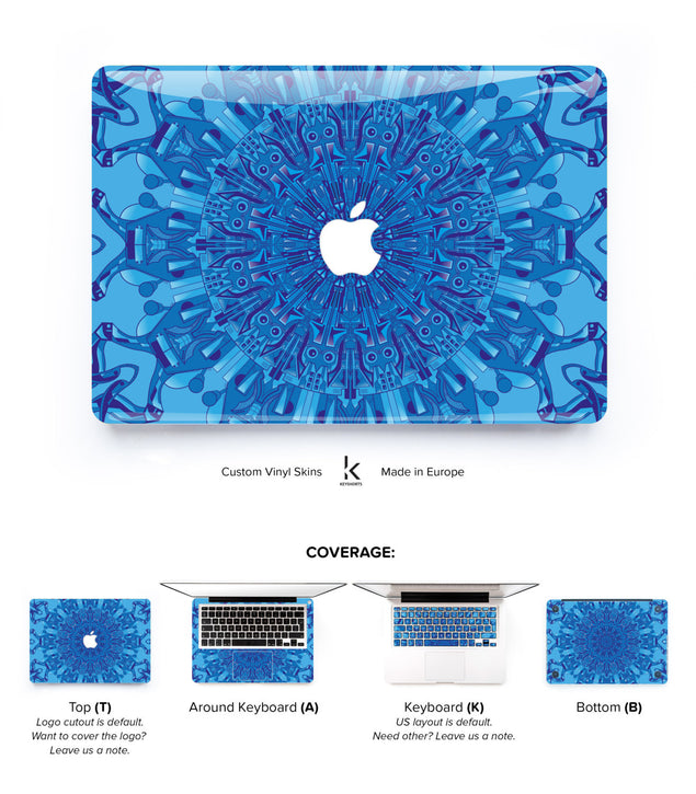 Cyberpunk Mandala in Blue MacBook Skin at Keyshorts.com - 1