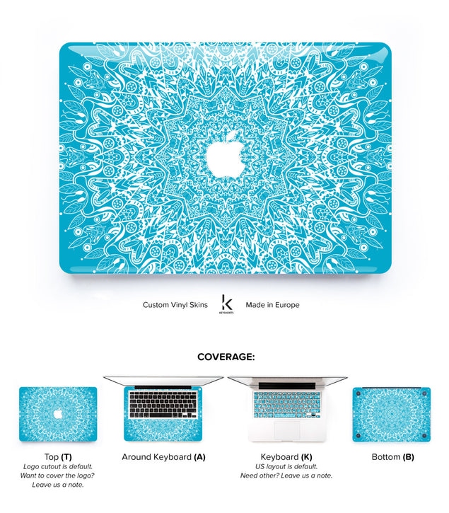 Turquoise Mandala MacBook Skin at Keyshorts.com
