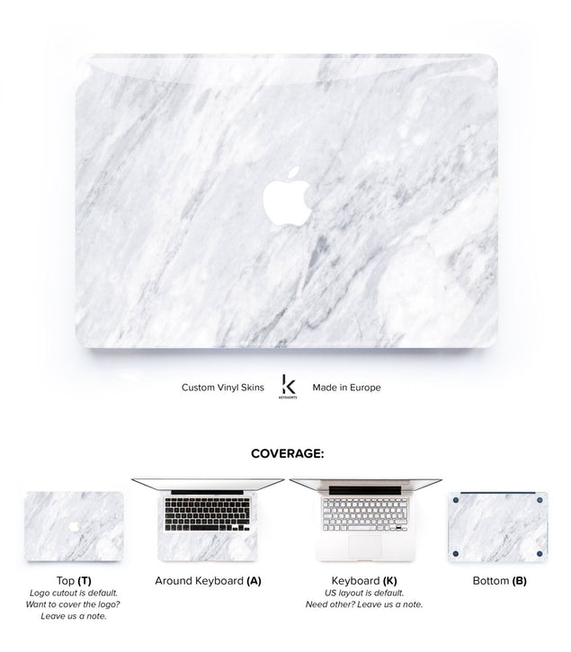 White Carrara Marble MacBook Skin at Keyshorts.com