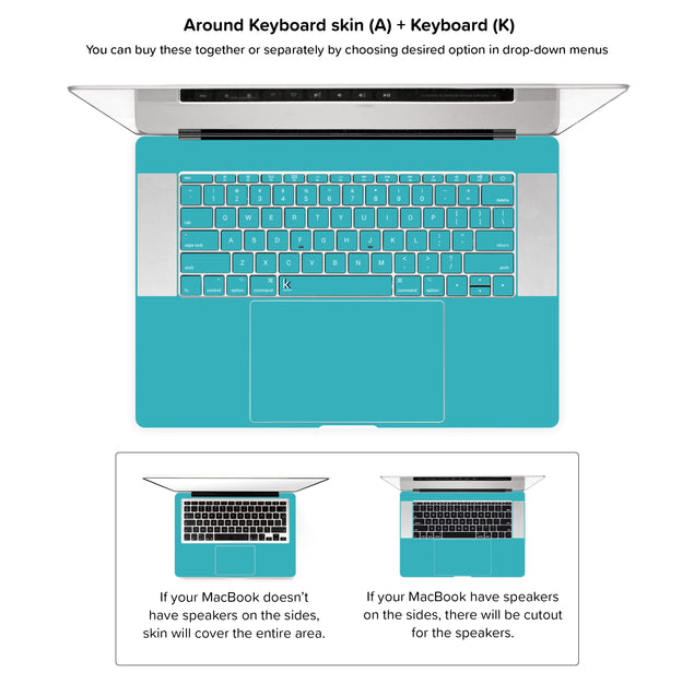 Teal Night MacBook Skin - around keyboard skin