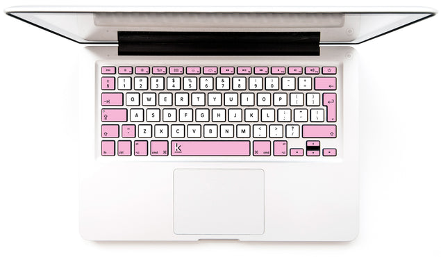 Pink and white designer MacBook stickers for keyboard