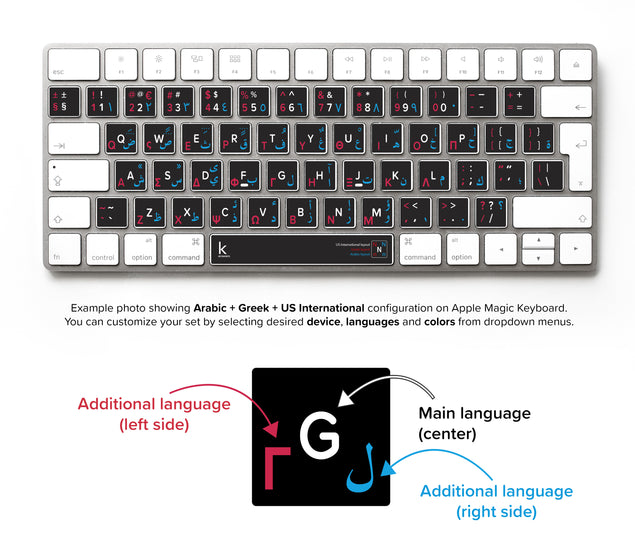 Three Languages Keyboard Stickers (Custom Multilingual)