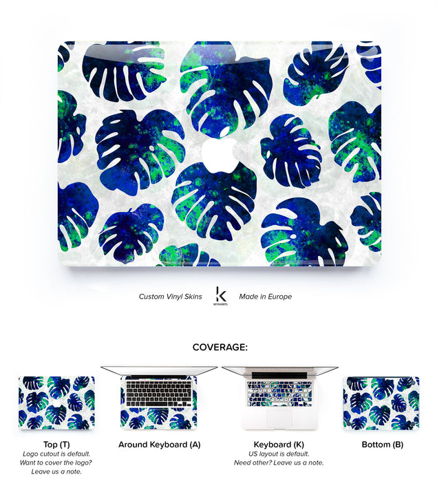 Tropical Monstera Blue MacBook Skin