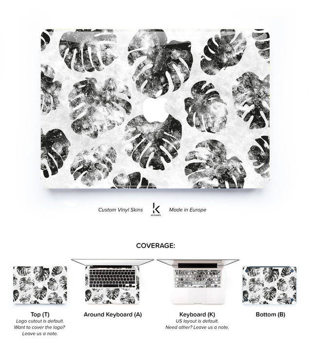 Tropical Monstera Grey MacBook Skin