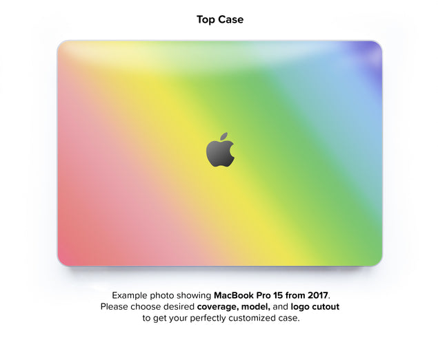 Unicorn Ombre Hard Case for MacBook Pro 15 with TouchBar - top case