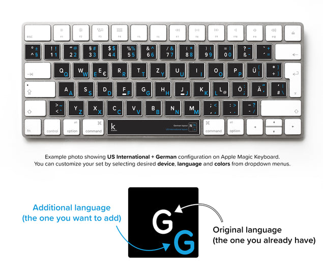 US International Bilingual Keyboard Sticker
