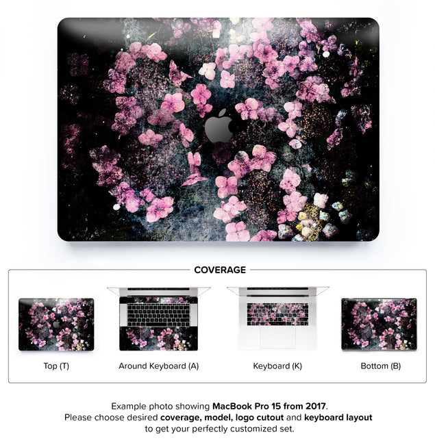 Wabi Sabi Flowers MacBook Skin