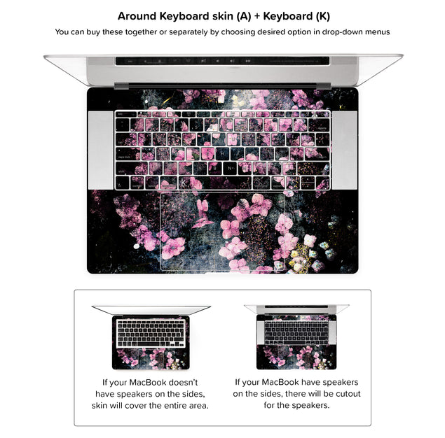 Wabi Sabi Flowers MacBook Skin - around keyboard skin