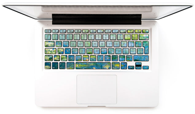 Blue Water Lilies MacBook Keyboard Decal at Keyshorts.com
