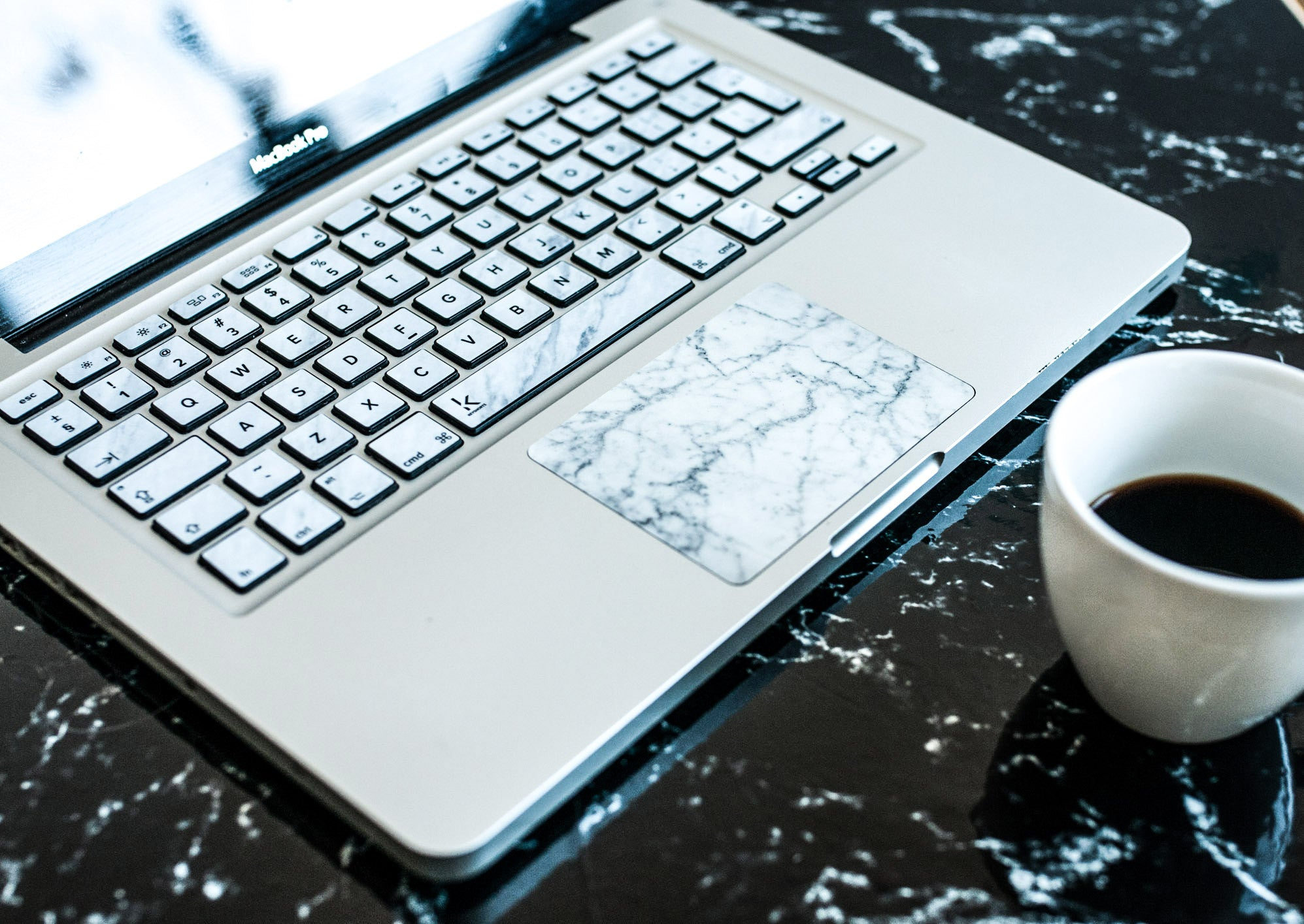 White Marble Strong MacBook Trackpad Sticker
