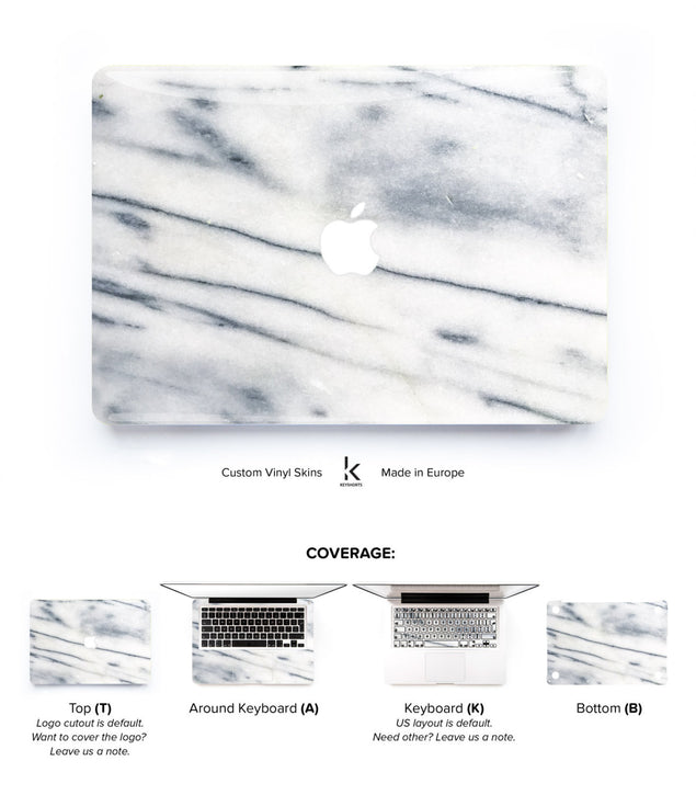White Air Marble MacBook Skin at Keyshorts.com
