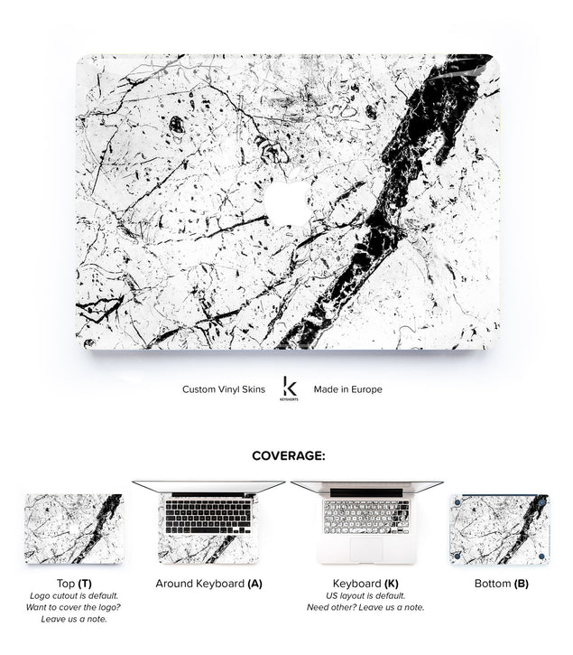 White Brani Marble MacBook Skin