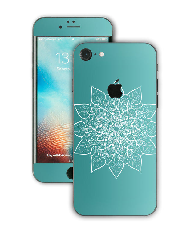 White mandala on sea gradient iPhone Skin