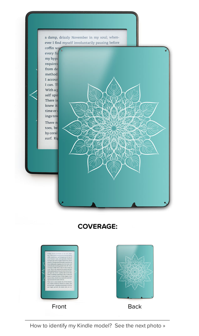 White mandala on sea gradient Kindle Skin