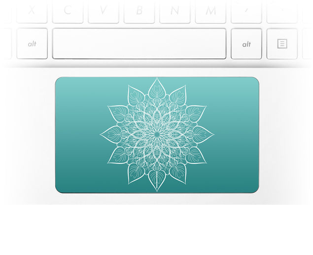 White mandala on sea gradient Laptop Trackpad Sticker