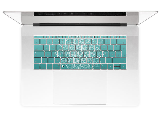 White mandala on sea gradient MacBook Keyboard Stickers alternate