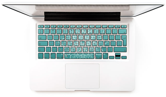 White mandala on sea gradient MacBook Keyboard Stickers