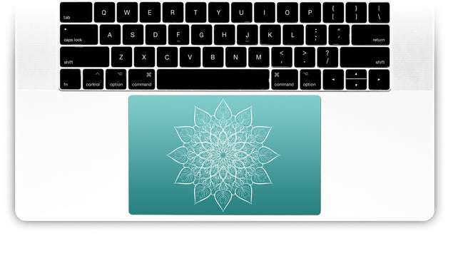 White mandala on sea gradient MacBook Trackpad Sticker