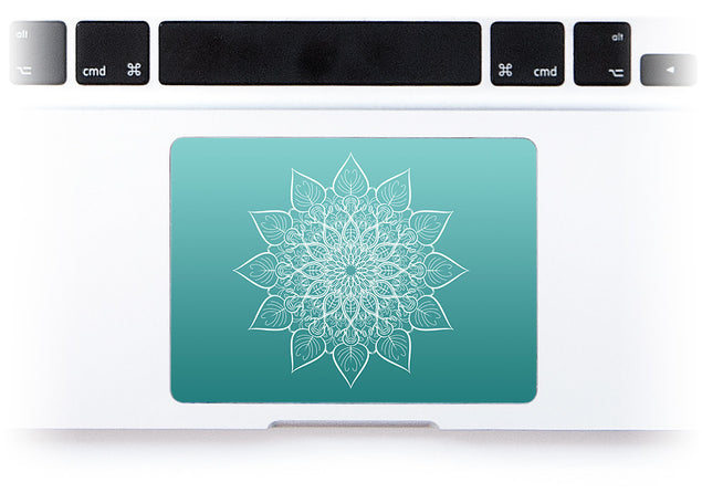 White mandala on sea gradient MacBook Trackpad Sticker alternate
